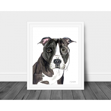 Contemporary Pit Bull Watercolor Art Print, 16 x 20, Unframed