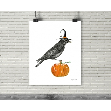 Halloween Witch Crow Watercolor Art Print, 16 x 20 Unframed