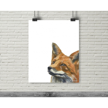 Red Fox Modern Watercolor Art Print, 16 x 20, Unframed