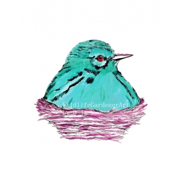 Aqua Blue Bird in Nest Watercolor Art Print