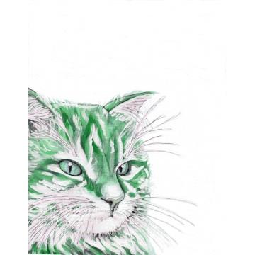 Green Cat Watercolor Art Print, Pop Art, Modern Wall Art, Contemporary Pet Art