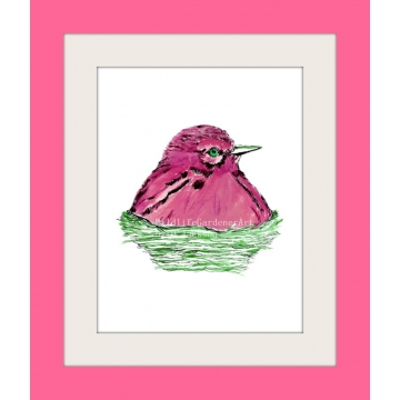 Pink Bird in Nest Watercolor Art Print