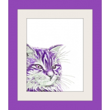 Purple Watercolor Cat Pop Art Print