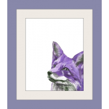 Purple Fox Watercolor Art Print