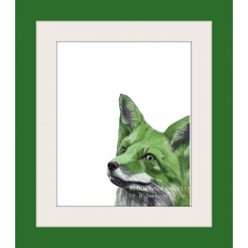 Green Fox Watercolor Art Print