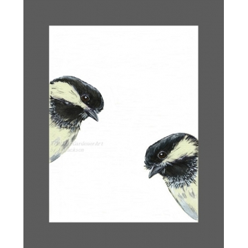 2 Chickadees Watercolor Art Print