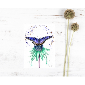 Blue Butterfly on Aqua Flower Watercolor Art Print