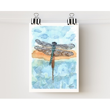 Blue Dragonfly Watercolor Art Print 5 x 7