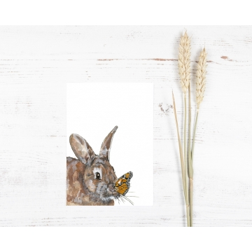 Bunny and Butterfly Watercolor Art Print