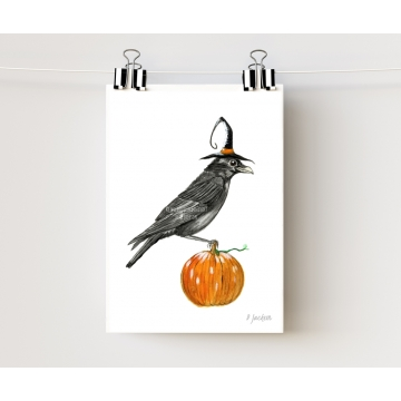 Halloween Crow Watercolor Art Print 5 x 7