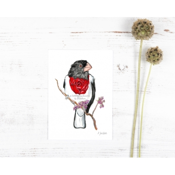 Whimsical Bird Art Watercolor Art Print, Rose Breasted Grosbeak
