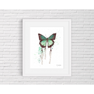 Aqua Butterfly Watercolor Art Print