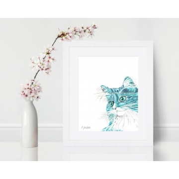 Aqua Long Haired Cat Contemporary Watercolor Art Print