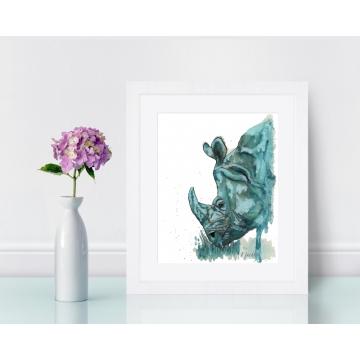 Aqua Rhino Watercolor Art Print, Unframed 8 x 10