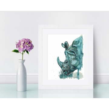 Aqua Rhino Watercolor Art Print, Unframed 8 x 10