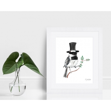 Chickadee in Top Hat Watercolor Art Print
