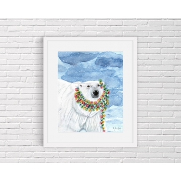 Christmas Lights Polar Bear Watercolor Art Print