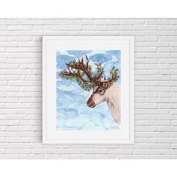 Christmas Lights Reindeer Watercolor Art Print
