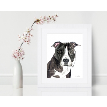 Pit Bull with Monacle Watercolor Art Print