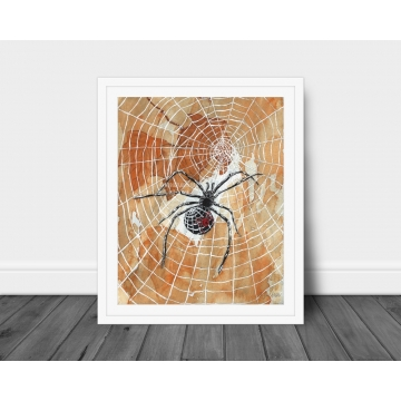 Halloween Spiders and Webs Watercolor Art Print