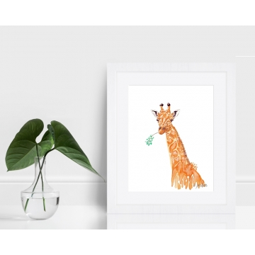 Orange Giraffe Watercolor Art Print
