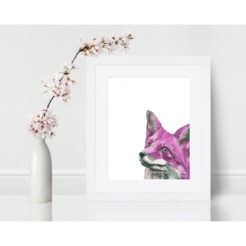 Pink Fox Watercolor Art Print