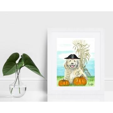 Halloween Pirate Puppy Watercolor Art Print