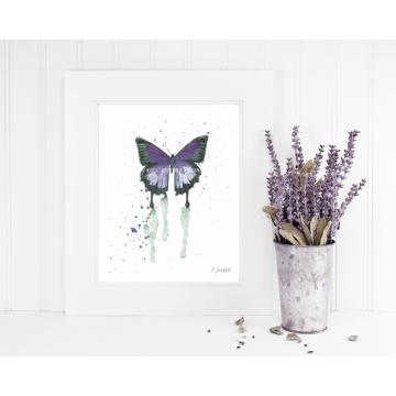 Purple Butterfly Watercolor Art Print