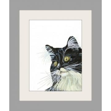 Tuxedo Cat Watercolor Art Print, black white cat art, contemporary cat wall art