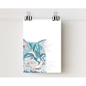 Aqua Blue Watercolor Cat Art Print 5 x 7