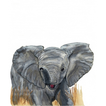 Watercolor Baby Elephant Art Print, Safari Animal