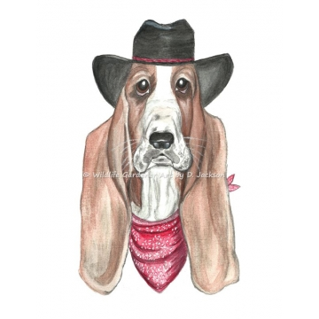 Cowboy Basset Hound Whimsical realism Dog Art Watercolor Print