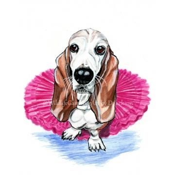 Bassett Hound in pink Tutu, Whimsical Dog Print, Unframed 8 x 10 Pet Portrait
