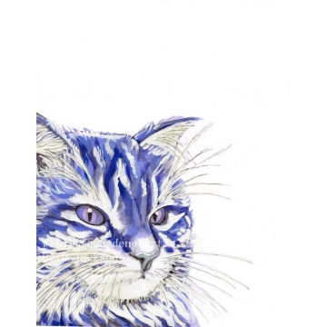 Blue Cat Watercolor Art Print, Blue Navy Modern Cat Art, Pop Art, Blue Wall Art