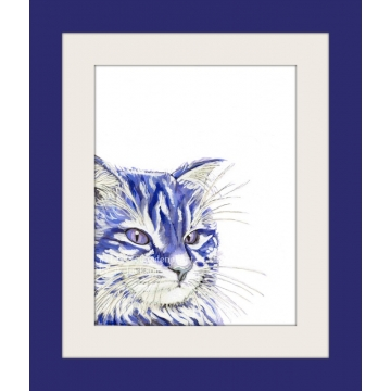 Blue, Navy Cat Watercolor Art Print, Contemporary Cat Art, Pop Art