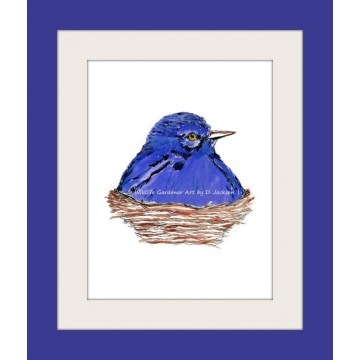 Blue Bird in Nest Watercolor Art Print, Nursery Art