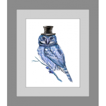 Blue Owl in Top Hat Watercolor Art Print