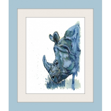 Blue Rhino Watercolor Art Print, Safari Animal, Contemporary Wildlife, Kids Art