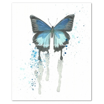 Butterfly Watercolor Art Prints, Blue, Purple (Set of 2)