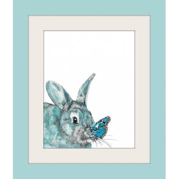 Aqua Blue Bunny and Butterfly Watercolor Art Print