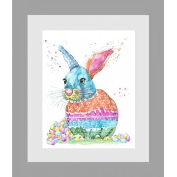 Easter Bunny Watercolor Art Print