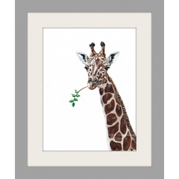 Giraffe Watercolor Art Print, Safari Animal art, African Wildlife decor