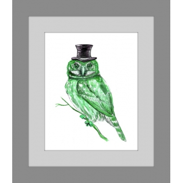 Green Owl in Top Hat Watercolor Art Print