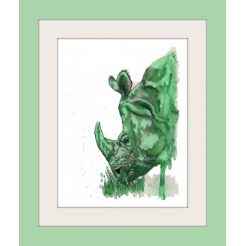 Green Rhino Watercolor Art Print