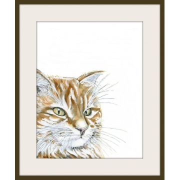 Watercolor Orange Cat Art Print, Pet Portrait, contemporary wall decor, gift