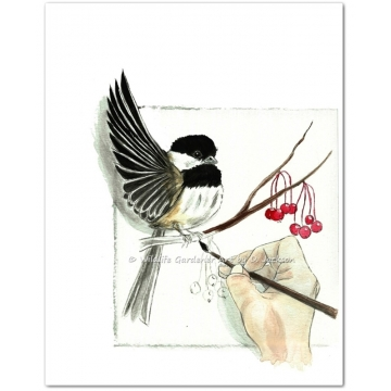 Painting a Chickadee, Watercolor Art Print