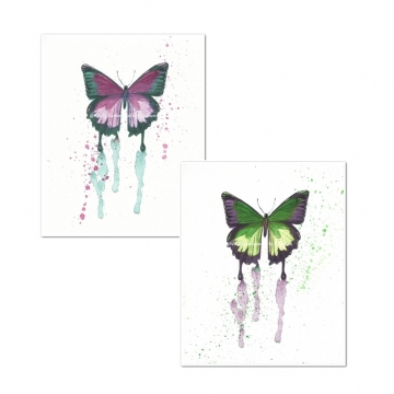 Butterfly Watercolor Art Prints, Pink, Green (Set of 2)
