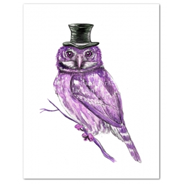 Purple Owl in Top Hat Watercolor Art Print
