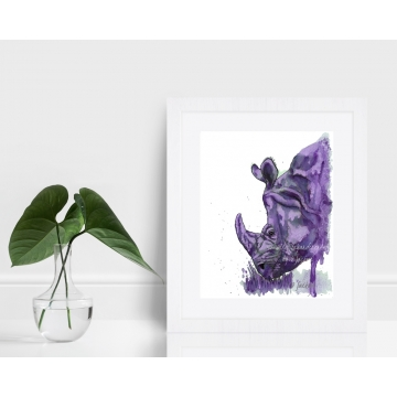 Purple Rhino Watercolor Art Print 8 x 10