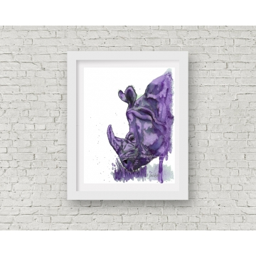 Purple Rhino Watercolor Art Print, 11 x 14 Unframed